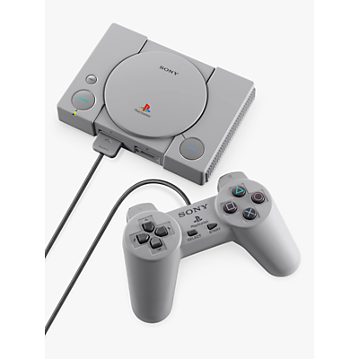 Image of Sony PlayStation Classic Compact Console, with 2 Wired Controllers and 20 Preloaded Games