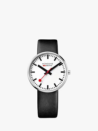 Mondaine MSX.4211B.LB Unisex SBB Classic Leather Strap Watch, Black/White