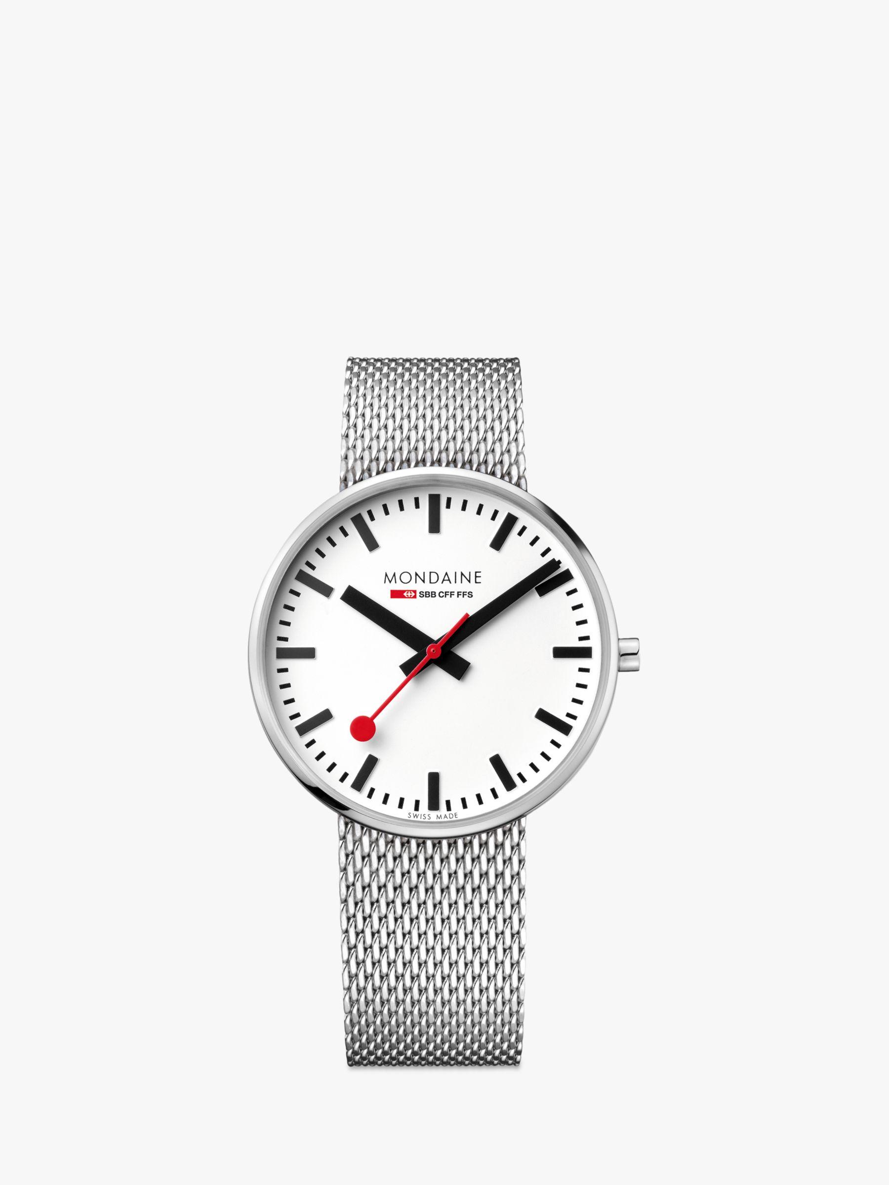 Mondaine Mondaine MSX.4211B.SM Unisex SBB Classic Mesh Bracelet Strap Watch, Silver/White
