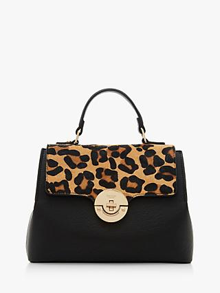 Dune Dinidoting Leather Tote Bag Leopard Black