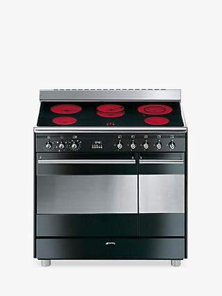 Smeg SUK92CBL9 Double Electric Range Cooker with Ceramic Hob, A Energy Rating, Gloss Black