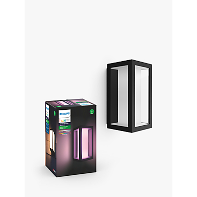 Philips Hue White and Colour Ambiance Impress LED Outdoor Wall Light, Black