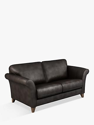 John Lewis & Partners Charlotte Large 3 Seater Leather Sofa, Dark Leg