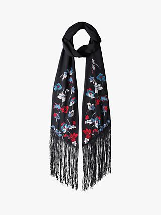 hush Silk Fringe Scarf, Black/Multi