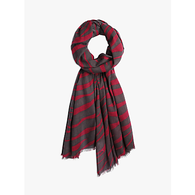 hush Zebra Print Scarf, Black Cherry/Wine