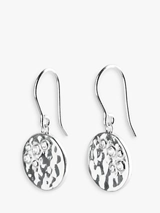 hush Hammered Coin Drop Earrings, Silver