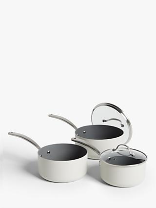John Lewis & Partners Country Non-Stick Lidded Saucepan Set, 3 Piece, Natural