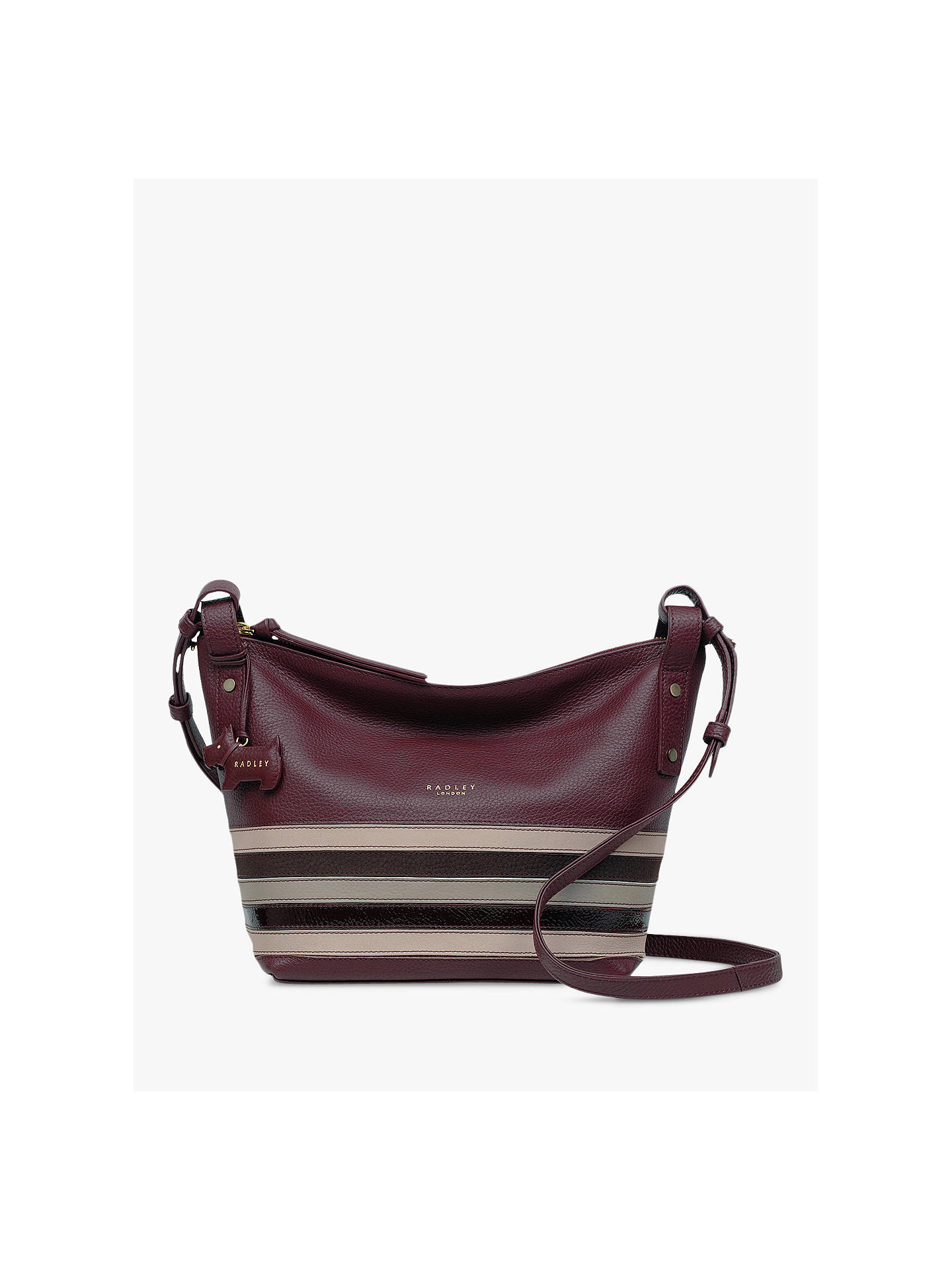 45afdafd82d BuyRadley Eltham Palace Stripe Leather Small Cross Body Bag, Burgundy Multi  Online at johnlewis ...