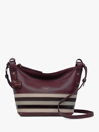 Radley Eltham Palace Stripe Leather Small Cross Body Bag, Burgundy Multi 673a744e89