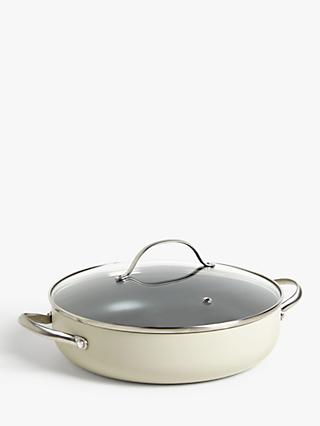 John Lewis & Partners Country Non-Stick Lidded Shallow Casserole, 28cm, Natural
