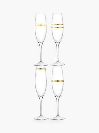 LSA International Deco Champagne Flutes, Set of 4, 225ml, Clear/Gold