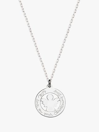 Merci Maman Personalised Angel Medal Pendant Necklace