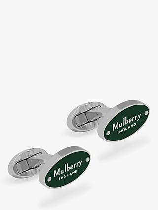 Mulberry Oval Plauqe Cufflinks, Racing Green