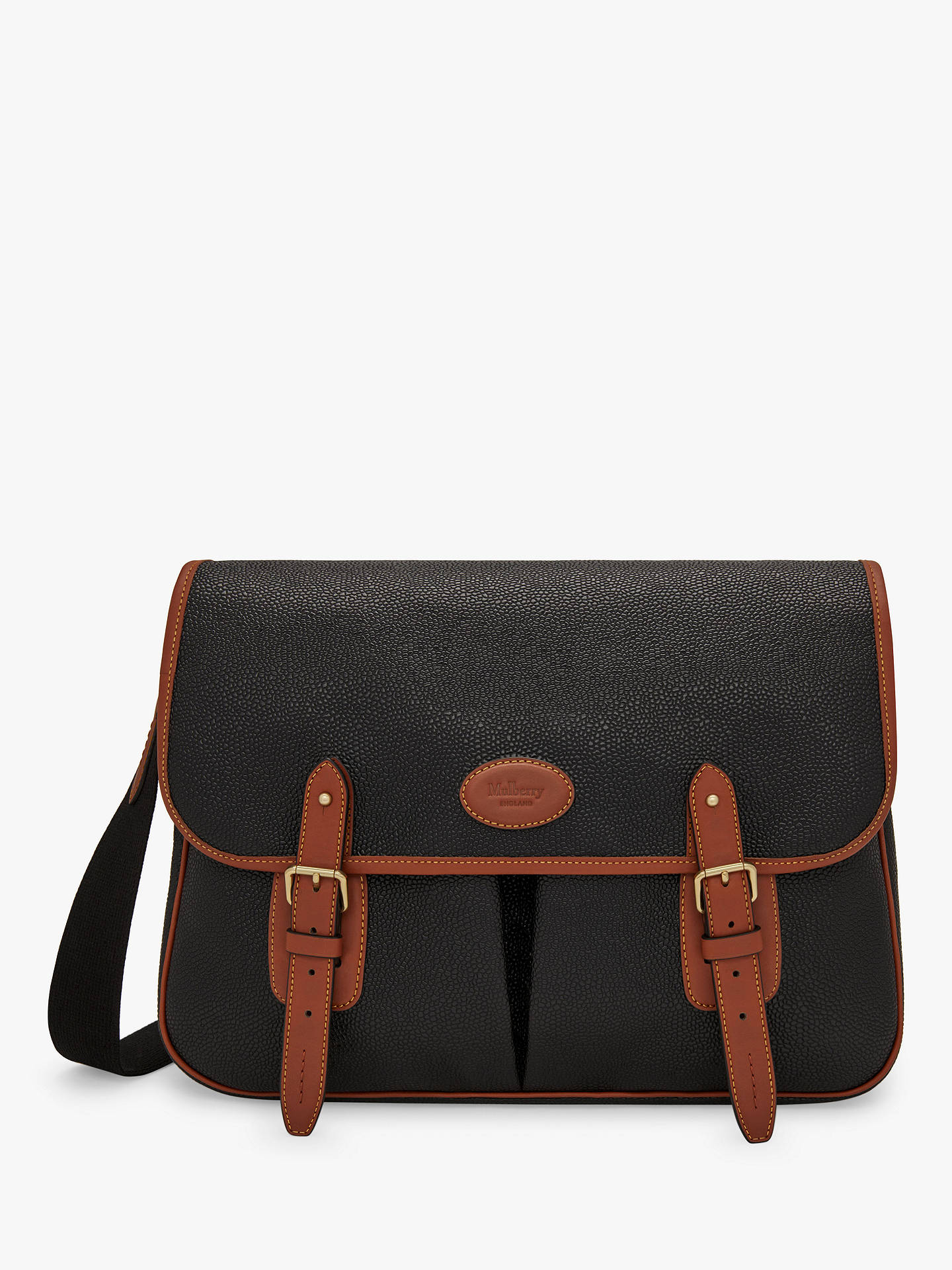 3923c86dc Buy Mulberry Heritage Scotchgrain Messenger Bag, Black/Cognac Online at  johnlewis.com ...