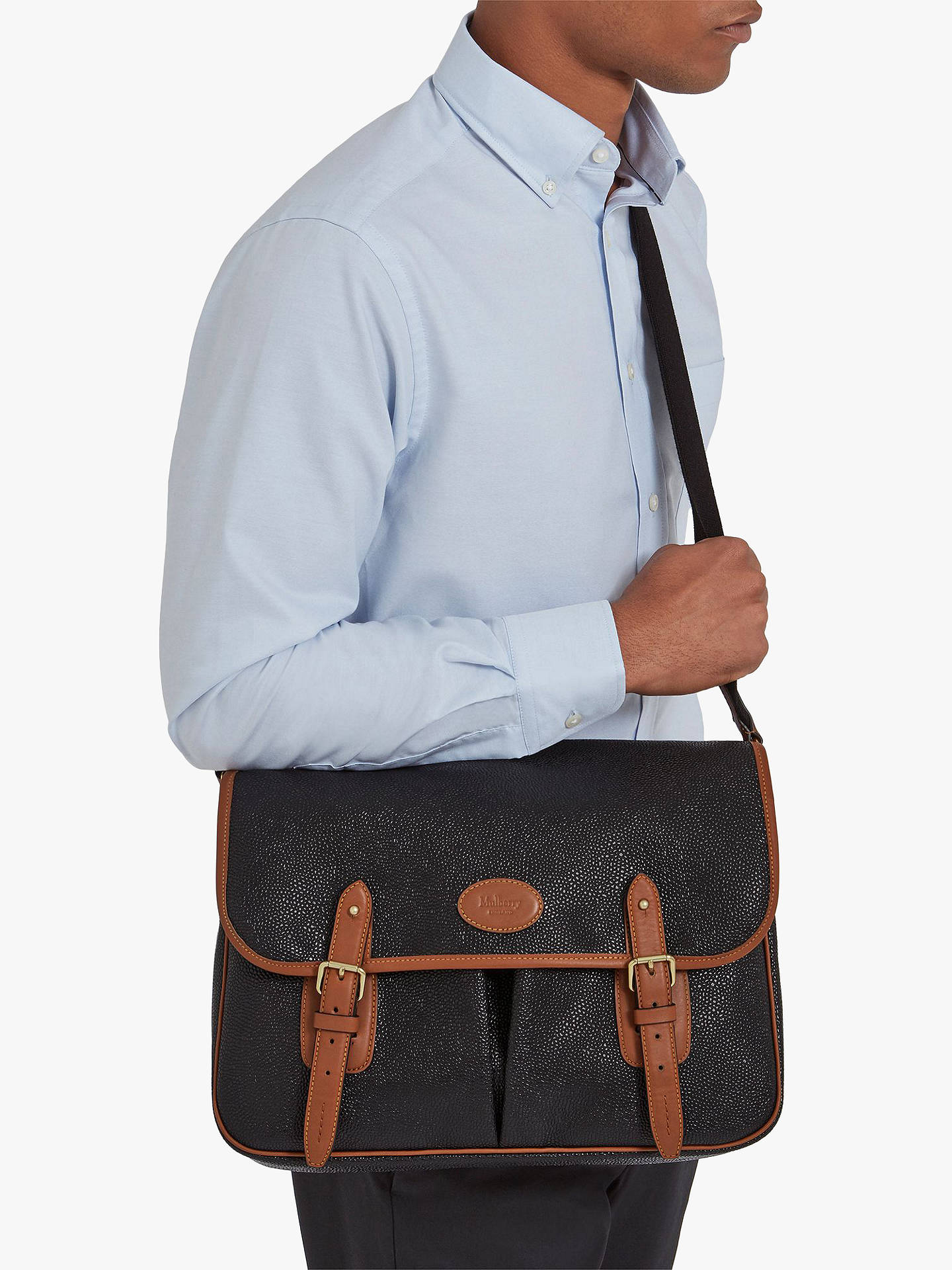 bc54bb4af ... Buy Mulberry Heritage Scotchgrain Messenger Bag, Black/Cognac Online at  johnlewis.com ...