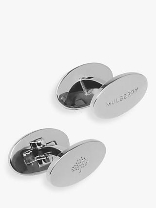 Mulberry Oval Reversible Cufflinks, Silver