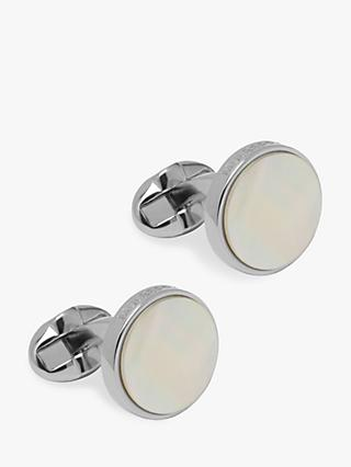 Mulberry Semi Precious Round Cufflinks, Mother of Pearl
