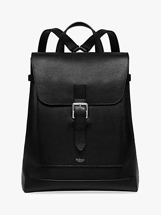 Mulberry Chiltern Grain Veg Tanned Leather Buckle Backpack, Black