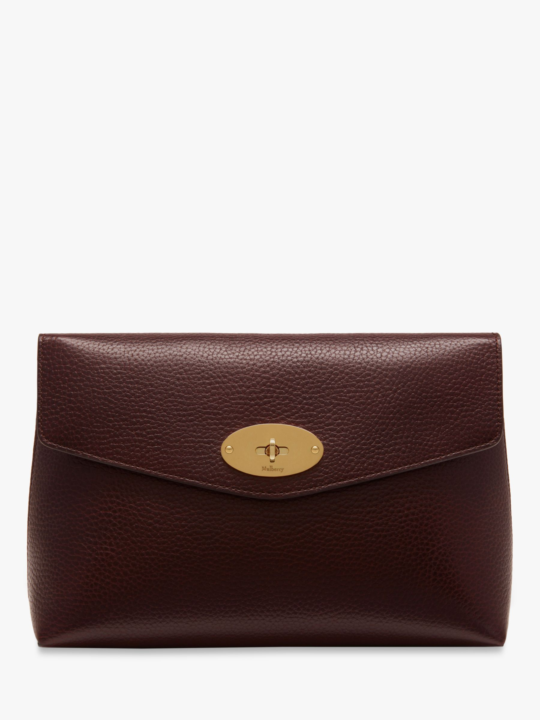 Buy Mulberry Darley Grain Veg Tanned Leather Large Cosmetic Pouch, Oxblood Online at johnlewis.com