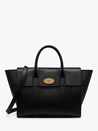 44ad5fb1f0 Mulberry Bayswater with Strap Small Classic Grain Leather Bag, Black