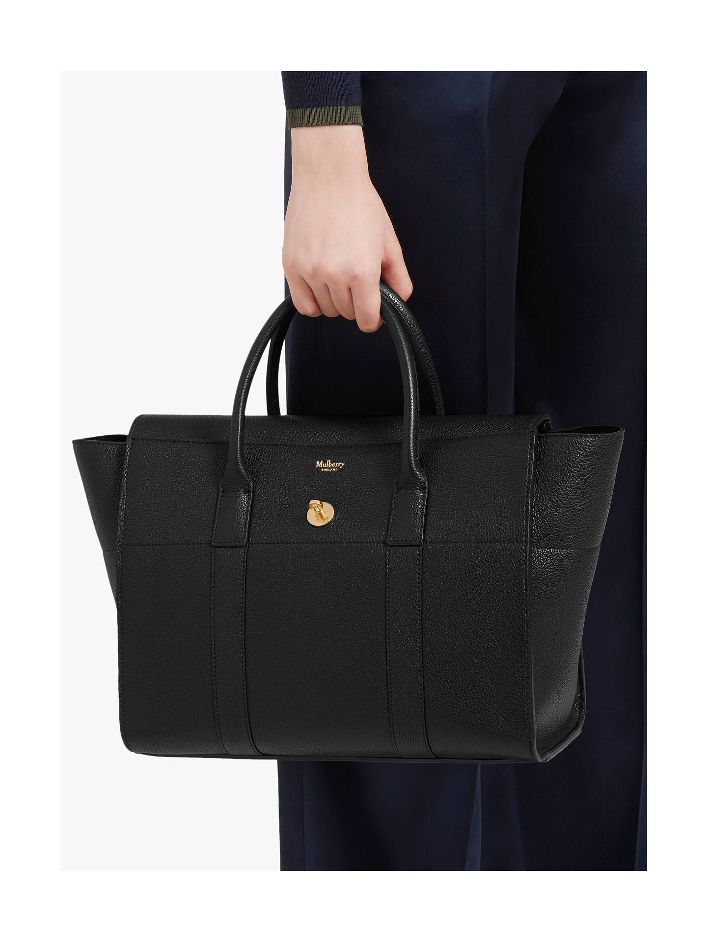 d82e30e55f Buy Mulberry Bayswater with Strap Small Classic Grain Leather Bag, Black  Online at johnlewis.