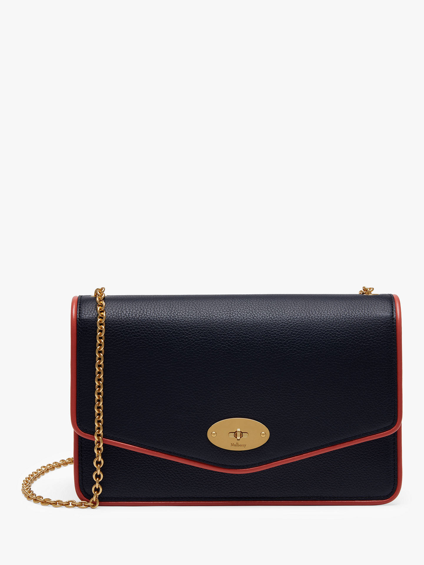 Buy Mulberry Darley Classic Grain Leather with Piping Cross Body Bag, Midnight/Coral Rose Online at johnlewis.com