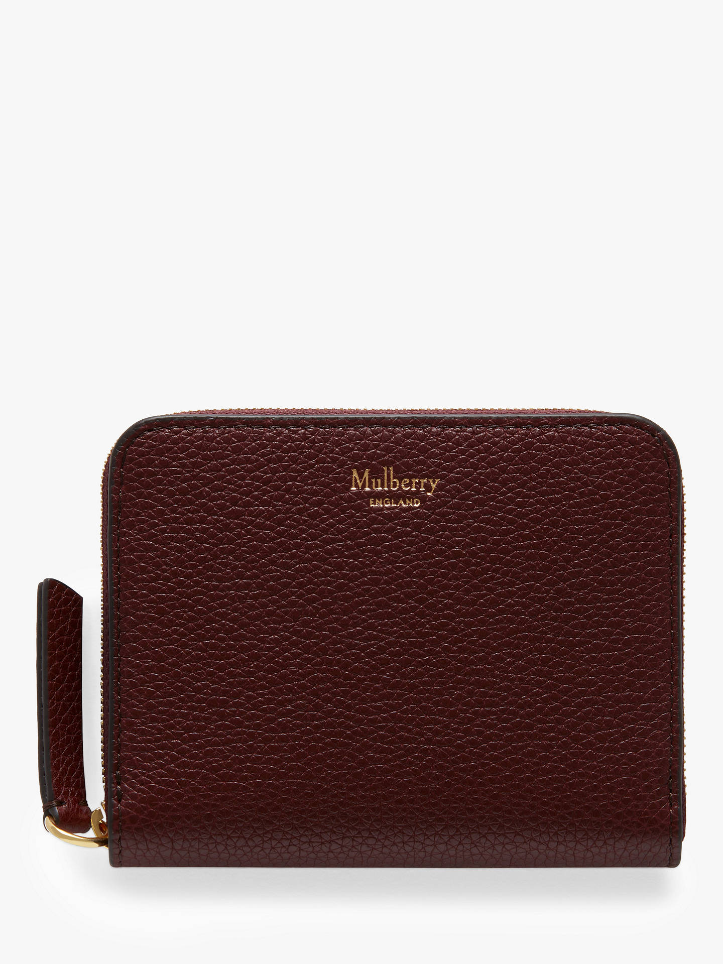 c31d49604aacc Buy Mulberry Small Classic Grain Leather Small Zip Around Purse, Burgundy  Online at johnlewis.