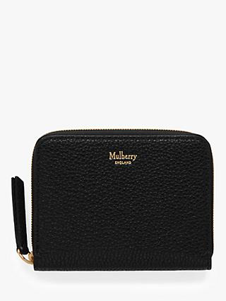 Mulberry Classic Grain Leather Small Zip-Around Purse, Black