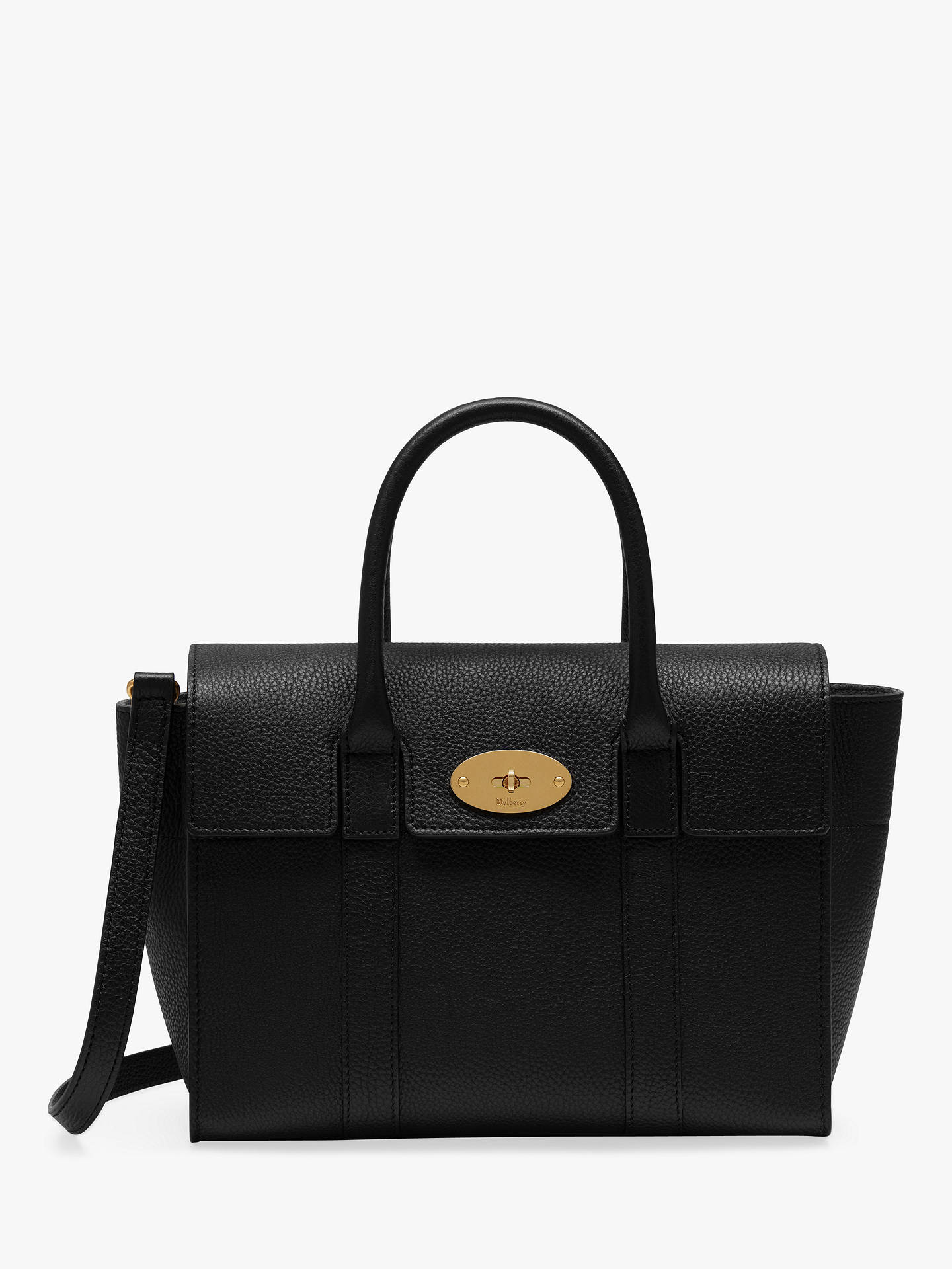 a82937cc9 Buy Mulberry Small Bayswater Small Classic Grain Leather Satchel Bag, Black/Gold  Online at ...