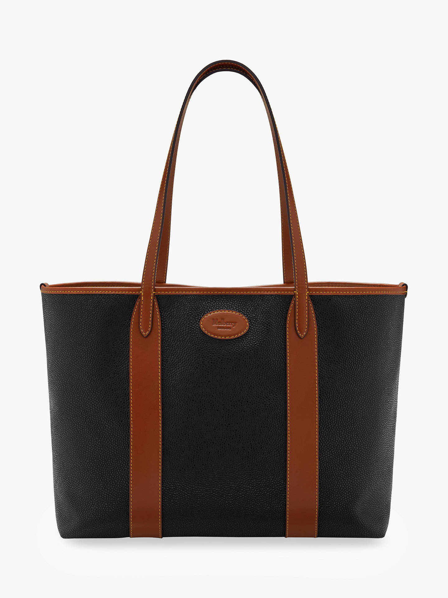 7ee19827faf Buy Mulberry Bayswater Scotchgrain Tote Bag, Black/Cognac Online at  johnlewis.com ...