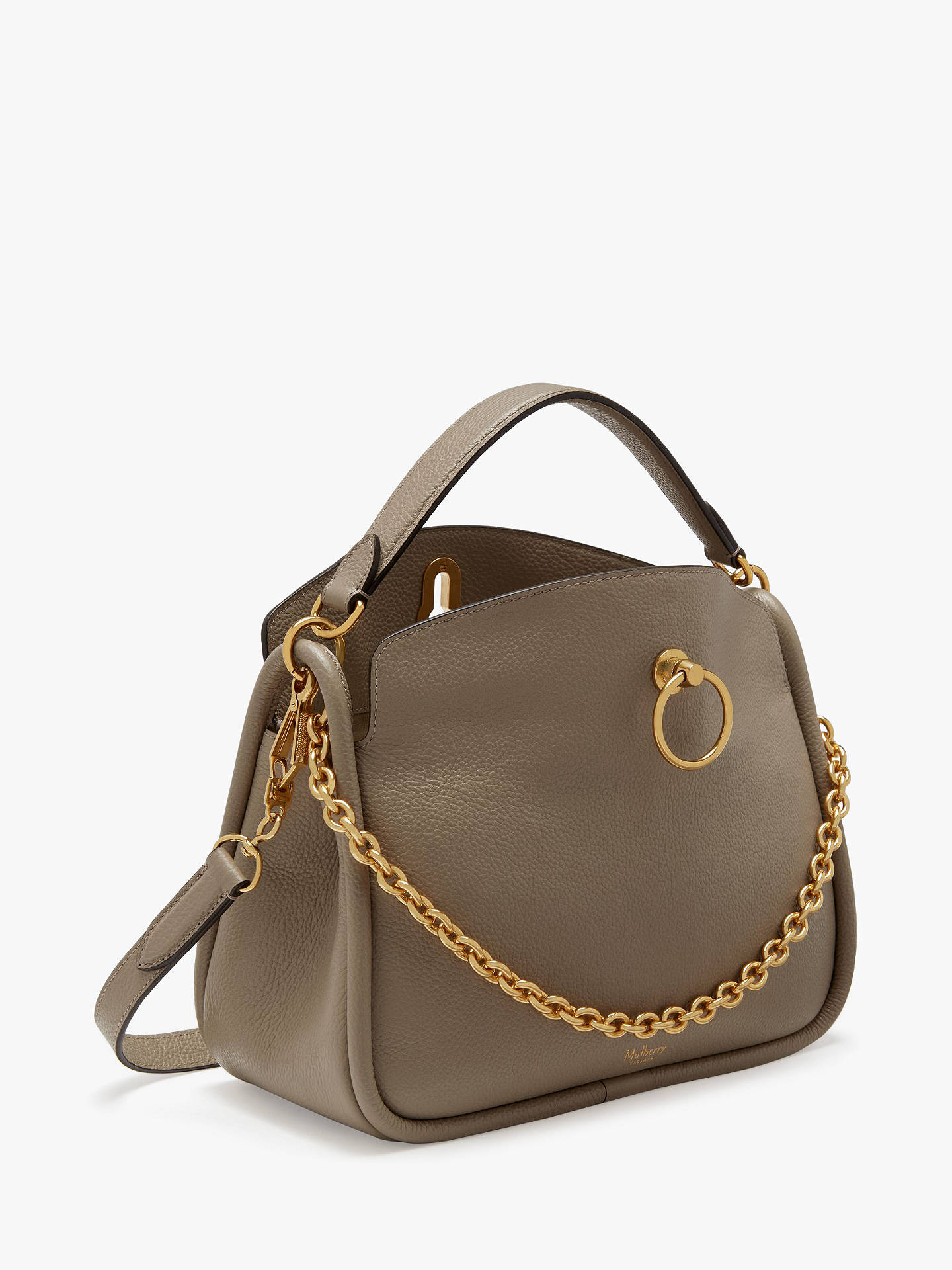 Mulberry Small Leighton Classic Grain Leather Shoulder Bag Grey Online At Johnlewis