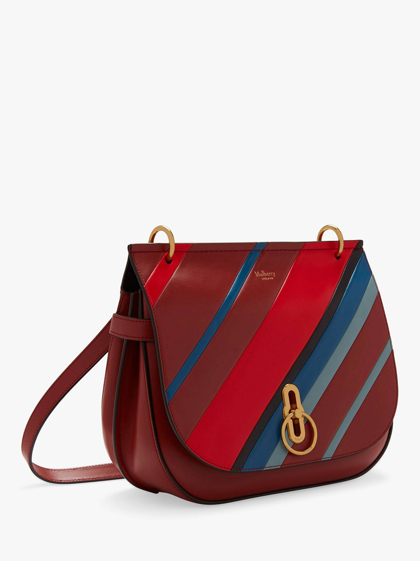 6cbe4445efb ... BuyMulberry Amberley Small Classic Grain Leather Diagonal Striped Cross  Body Bag, Brick Online at johnlewis ...
