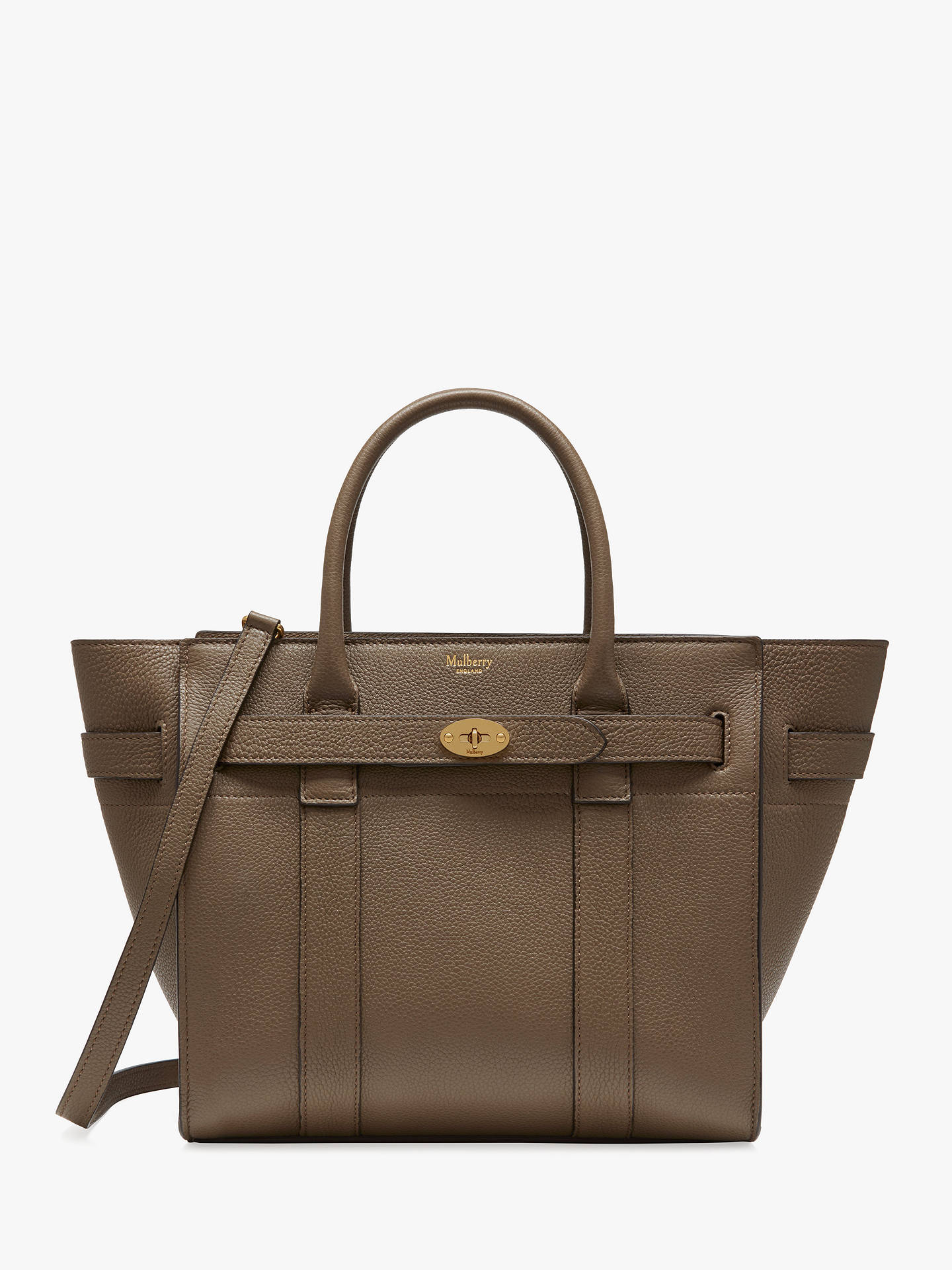 687afcb4b Buy Mulberry Small Bayswater Zipped Classic Grain Leather Tote Bag, Clay  Online at johnlewis.