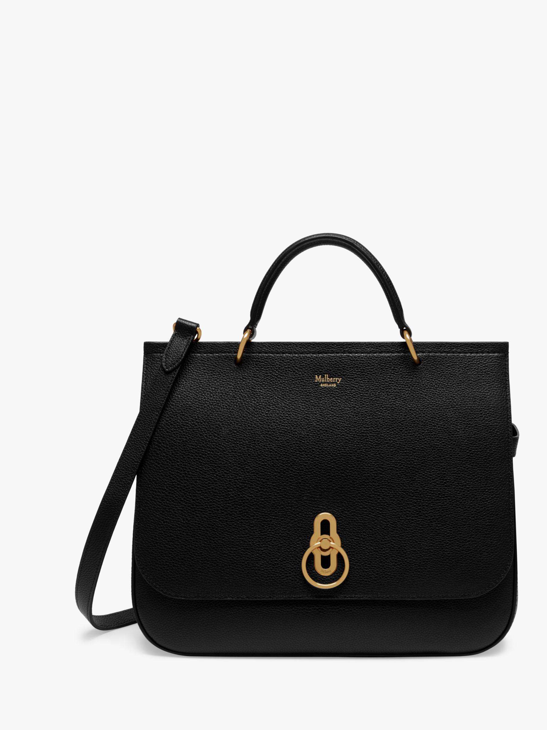 c2214afa73 Mulberry Amberley Small Classic Grain Leather Satchel Bag, Black at John  Lewis & Partners