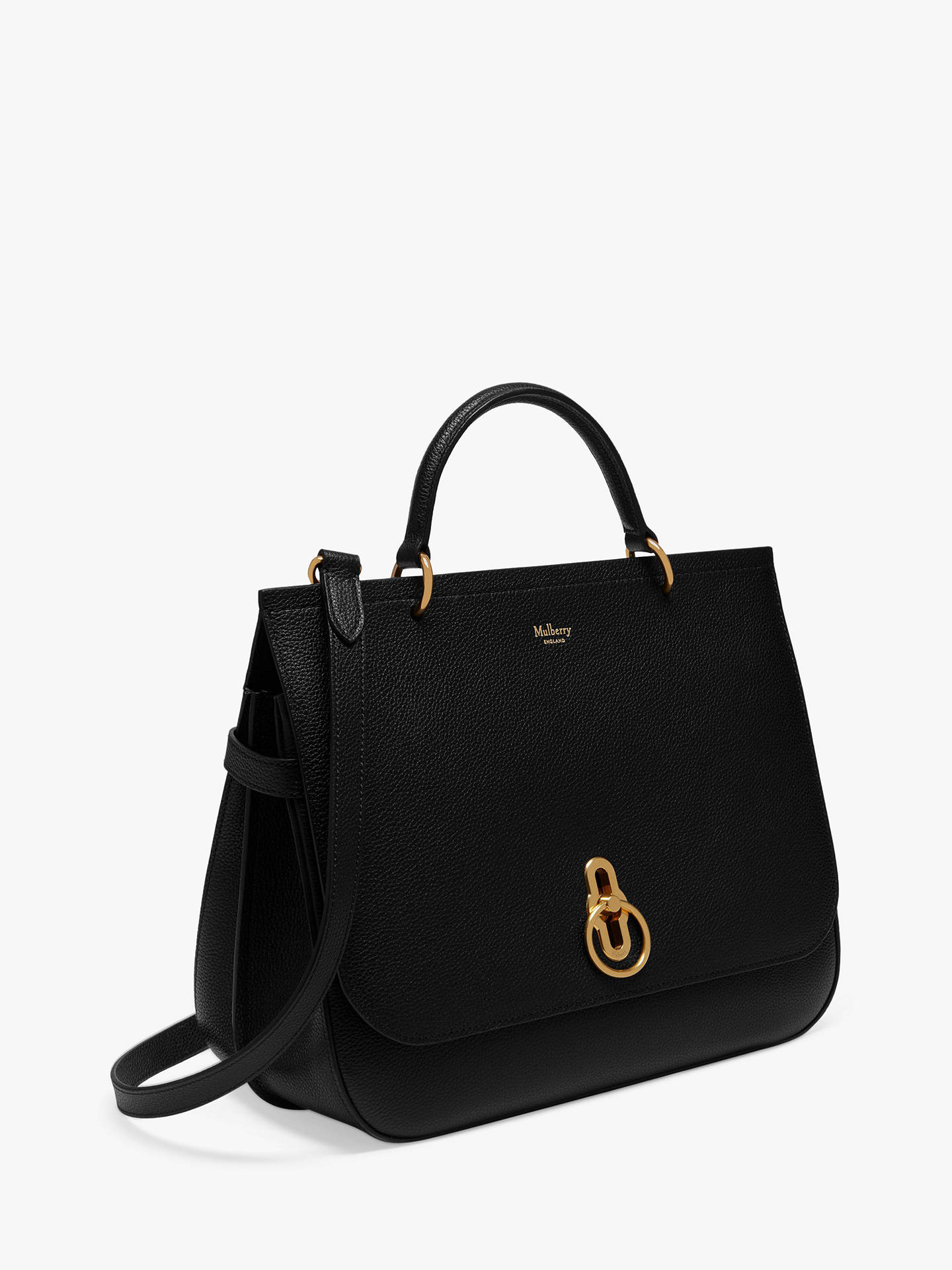 214caa158b5 ... BuyMulberry Amberley Small Classic Grain Leather Satchel Bag, Black  Online at johnlewis.com ...