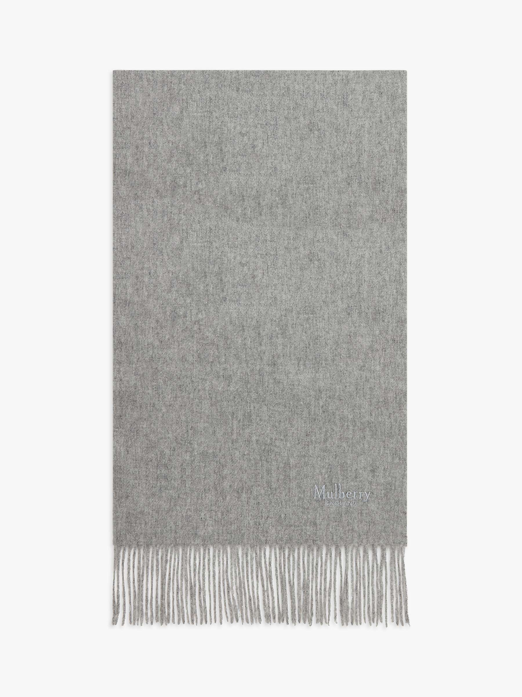 Mulberry Small Solid Lambswool Scarf, Light Grey Melange by Mulberry