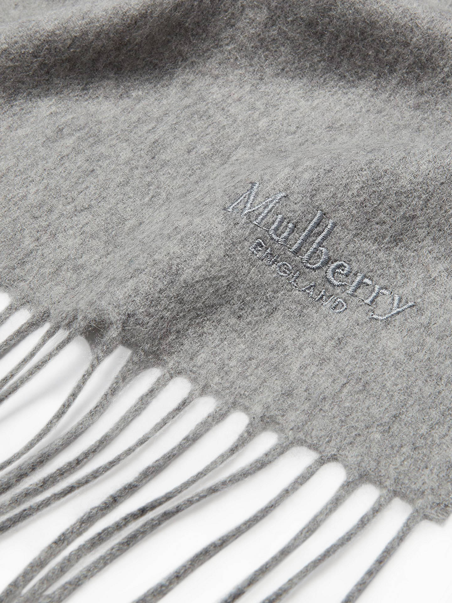 Buy Mulberry Small Solid Lambswool Scarf, Light Grey Melange Online at johnlewis.com