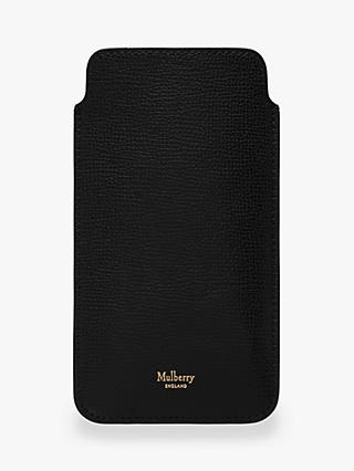 Mulberry Cross Grain Leather iPhone Plus Cover, Black