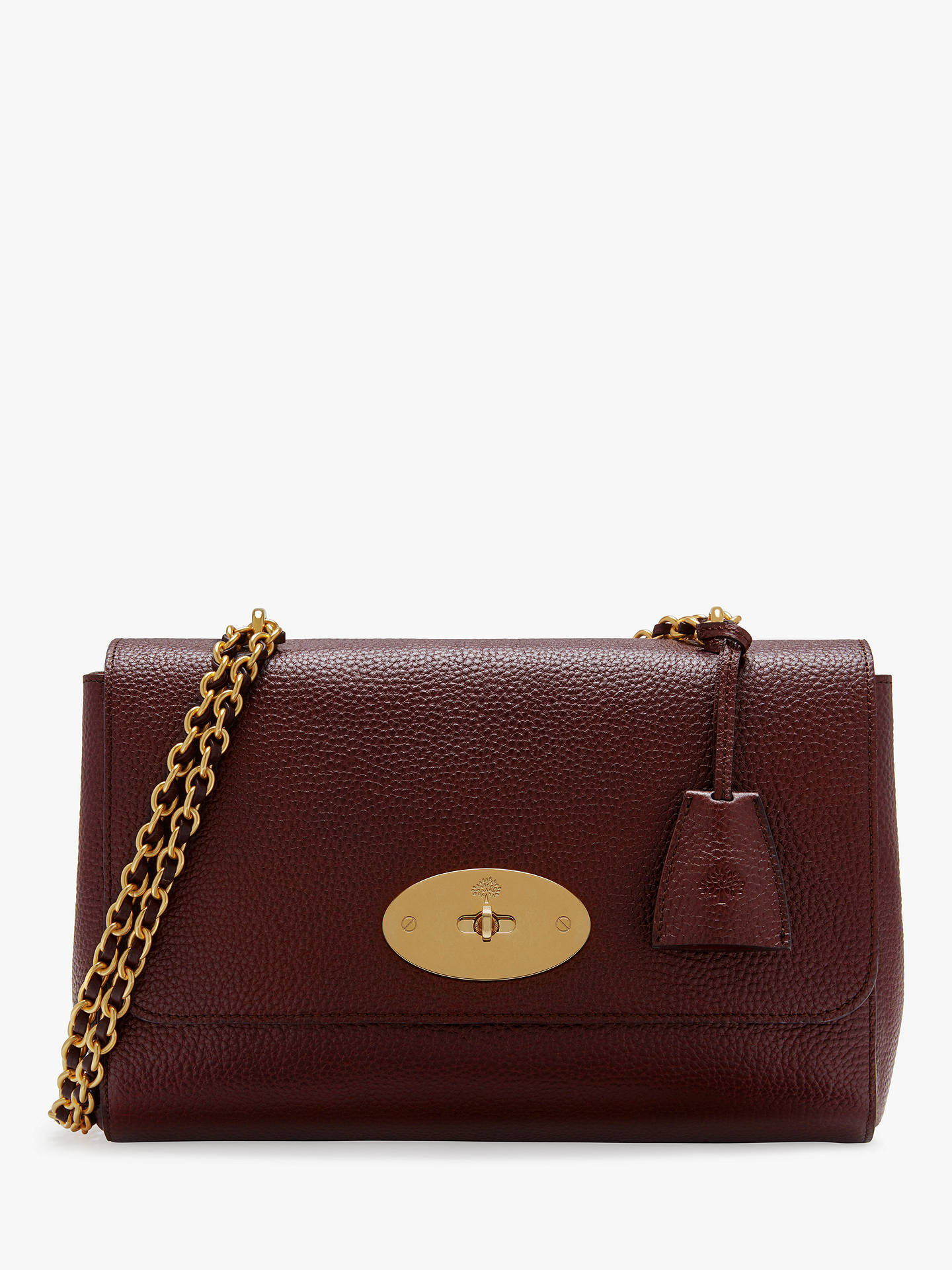 98d86cf7af6 BuyMulberry Medium Lily Grain Veg Tanned Leather Shoulder Bag, Oxblood  Online at johnlewis.com ...