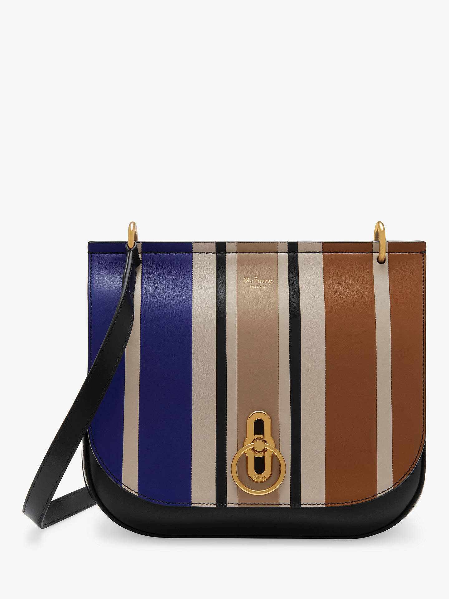 ee0ccaffef3 BuyMulberry Amberley Silky Calf Leather Vertical Striped Cross Body Bag,  Black Multi Online at ...