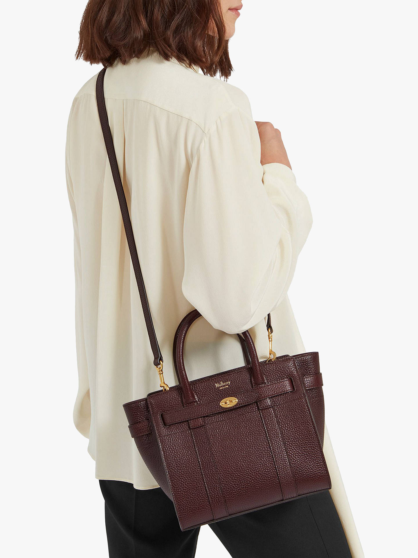 9d6fe805f36f Mulberry Mini Bayswater Zipped Grain Veg Tanned Leather Tote Bag at ...