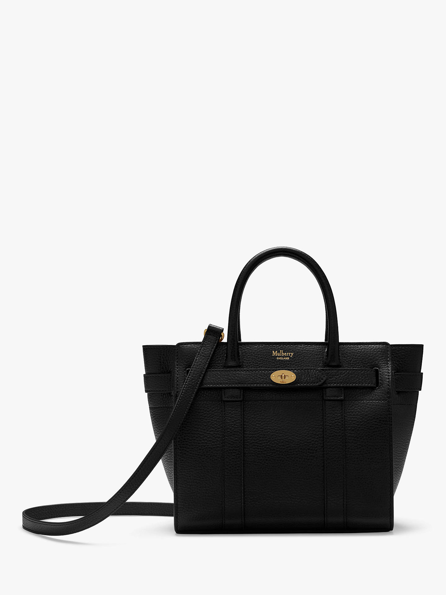 e4b90fb00 Buy Mulberry Mini Bayswater Zipped Classic Grain Leather Tote Bag, Black  Online at johnlewis.