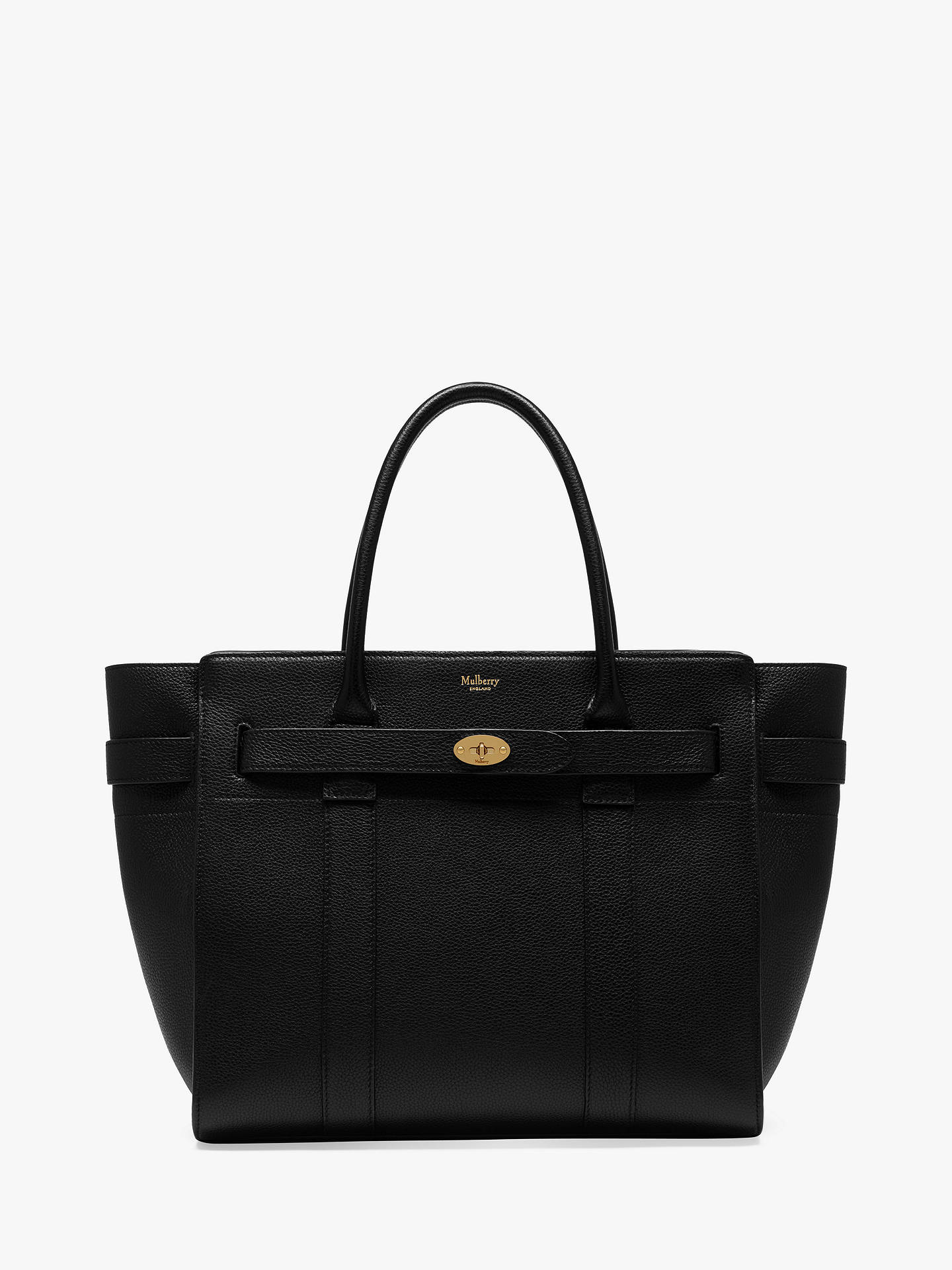 BuyMulberry Bayswater Zipped Small Classic Grain Leather Tote Bag, Black Red  Online at johnlewis ... 06de4824f2