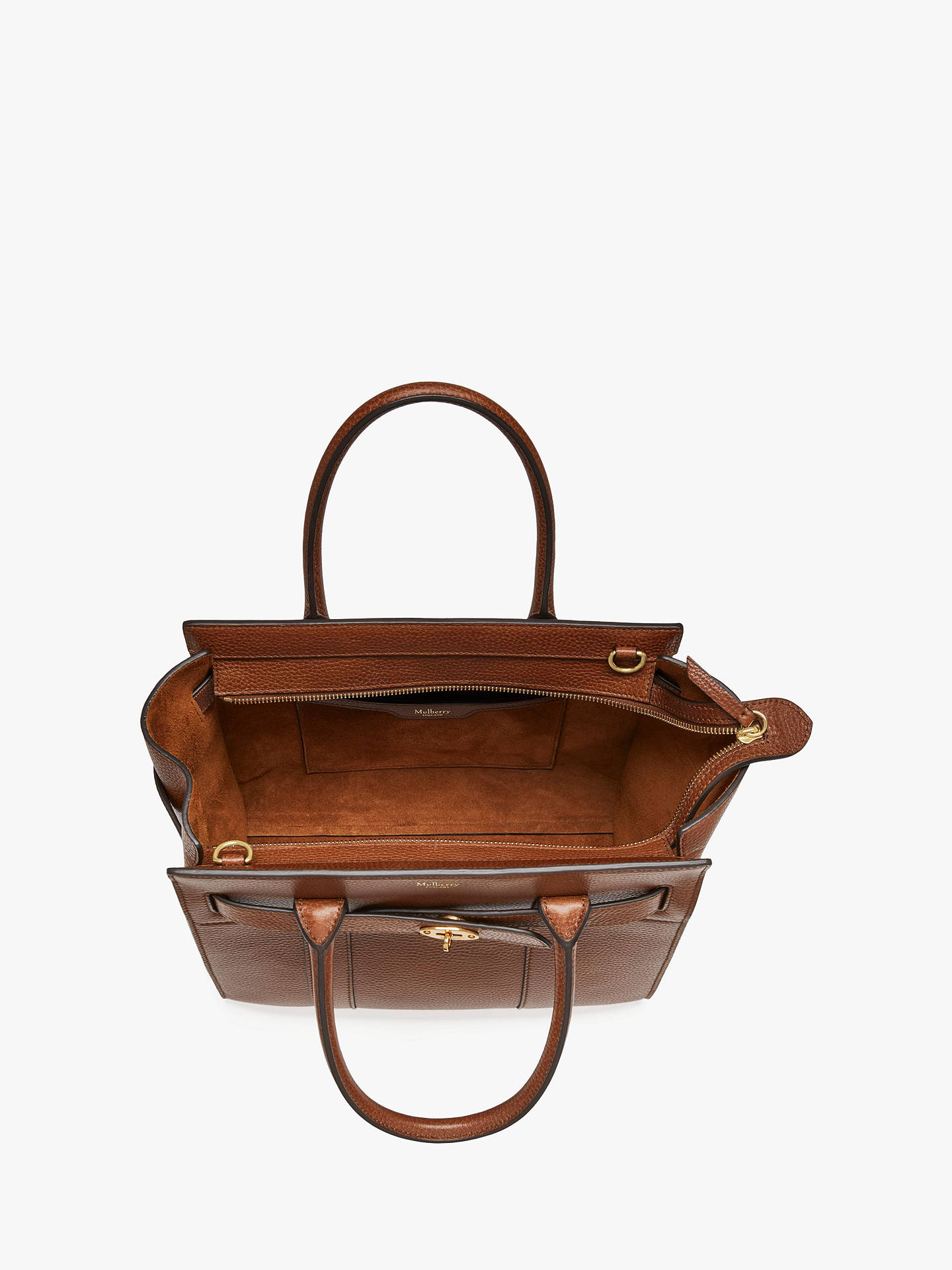 8fdcd9550ab2 Mulberry Small Bayswater Zipped Grain Veg Tanned Leather Tote Bag at ...