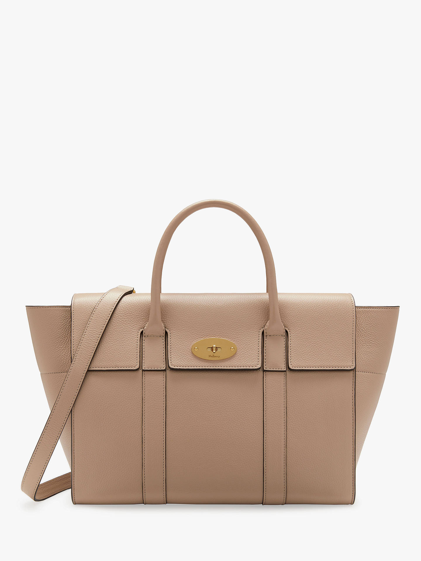 9d3267596e5 Buy Mulberry Bayswater with Strap Small Classic Grain Leather Bag,  Rosewater Online at johnlewis.