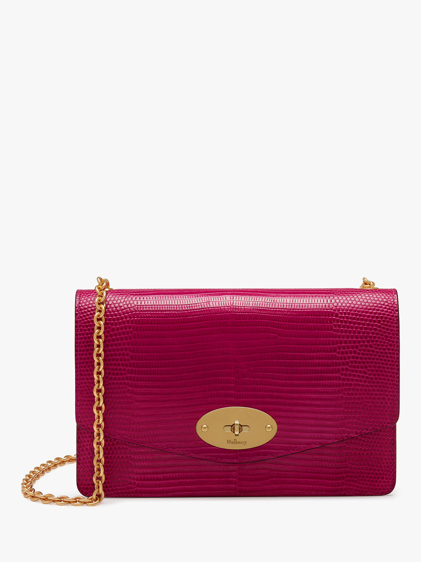 6ff04264790846 Buy Mulberry Small Darley Lizard Embossed Leather Cross Body Bag, Deep Pink  Online at johnlewis ...