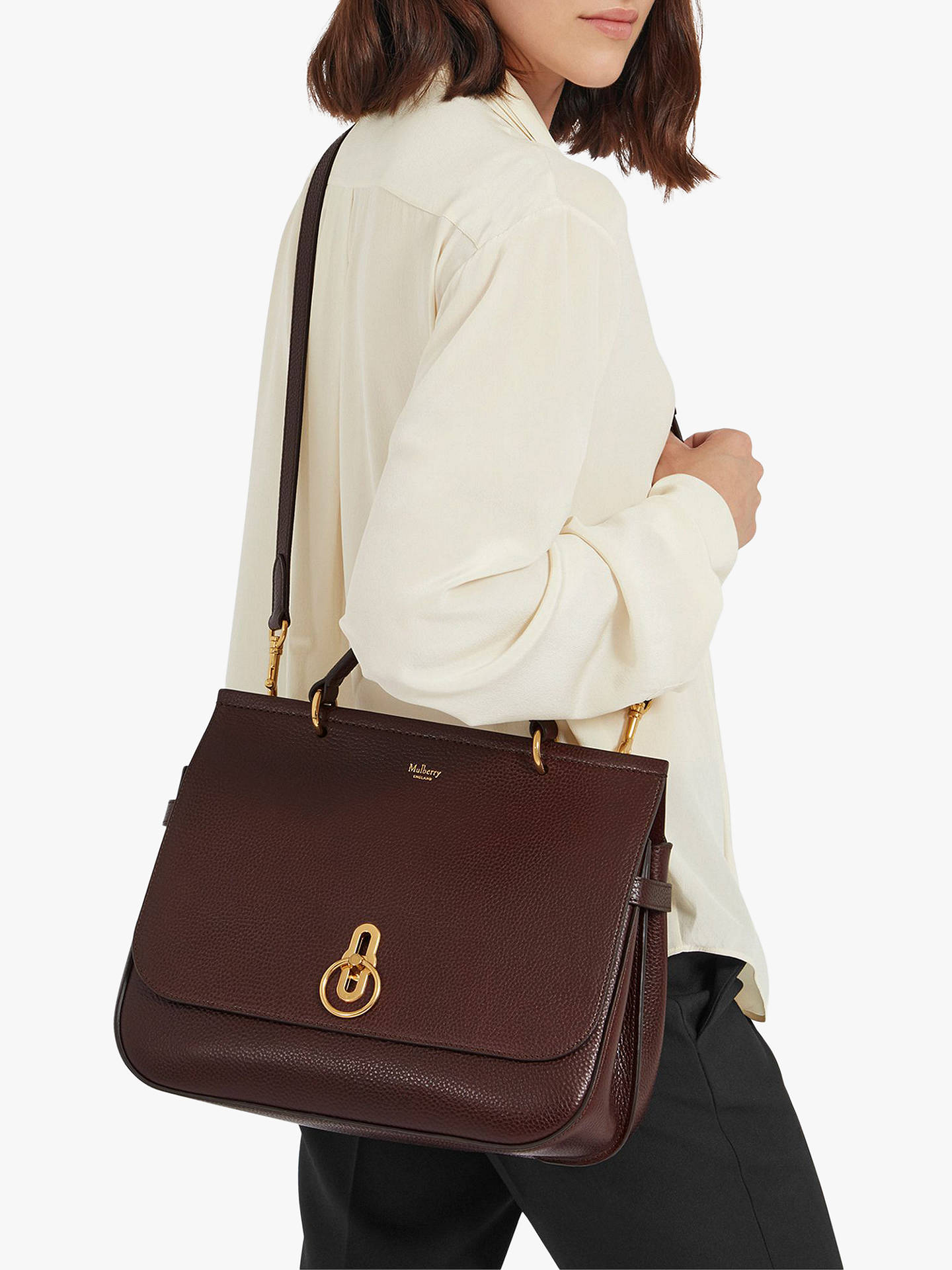 b0ccd9872f8e Mulberry Amberley Grain Veg Tanned Leather Satchel Bag at John Lewis ...