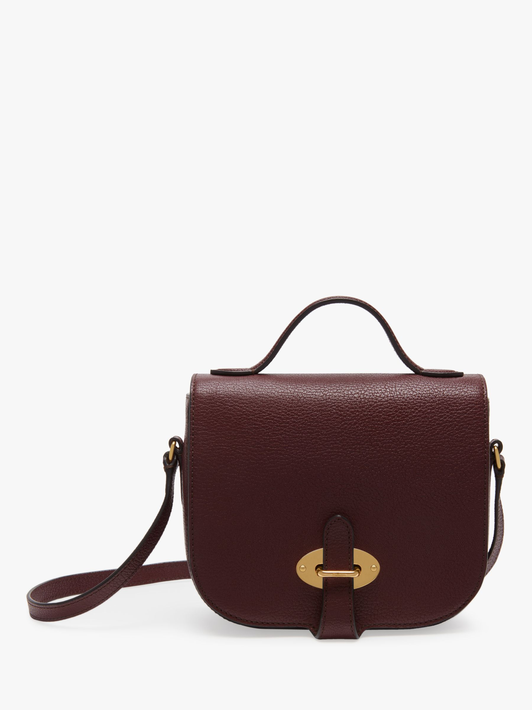 Mulberry Small Tenby Goat Textured Leather Satchel Bag, Burgundy at John  Lewis   Partners 60fe4f578d