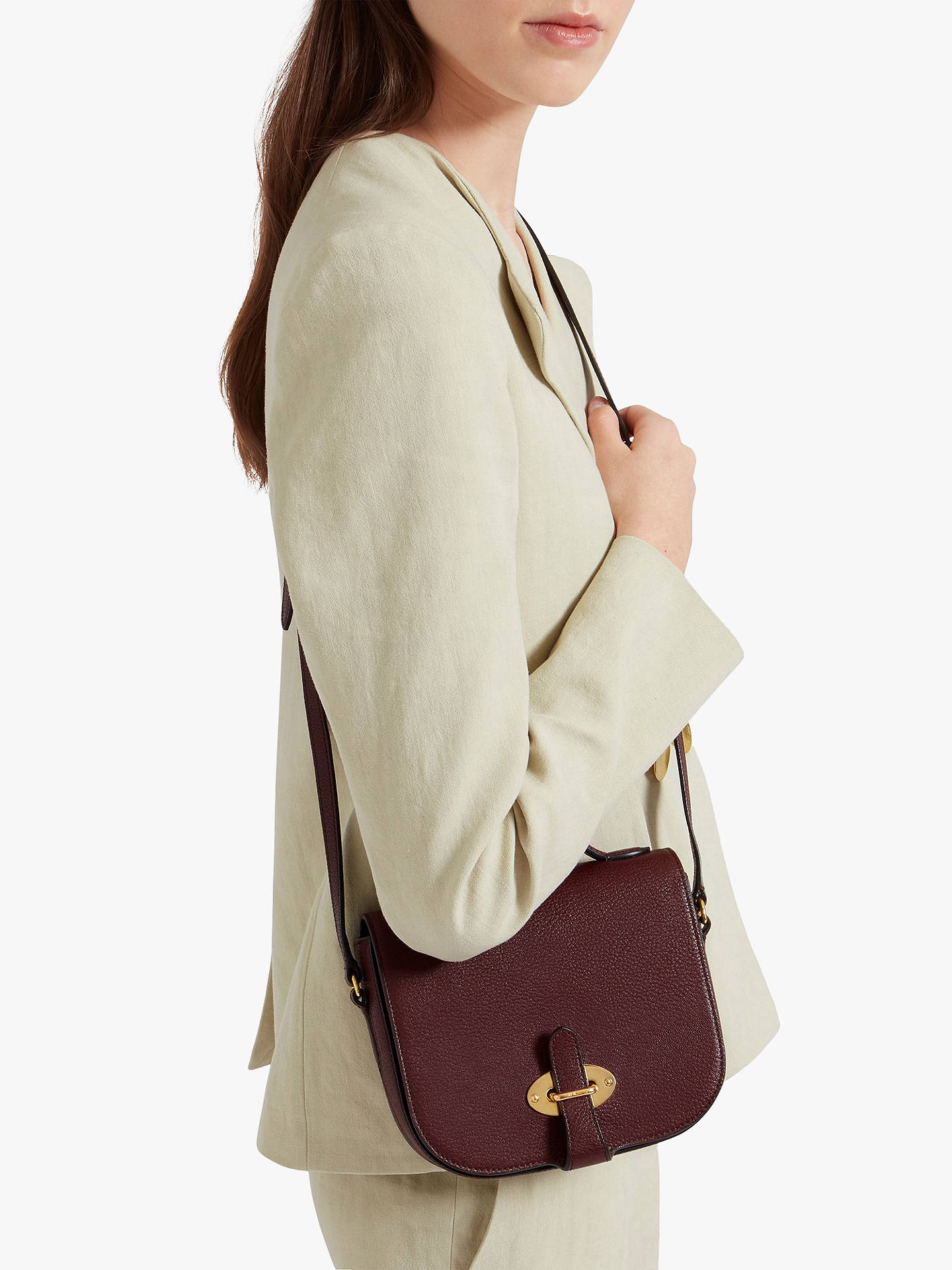 ... BuyMulberry Small Tenby Goat Textured Leather Satchel Bag, Burgundy  Online at johnlewis.com ... 44310cd74e