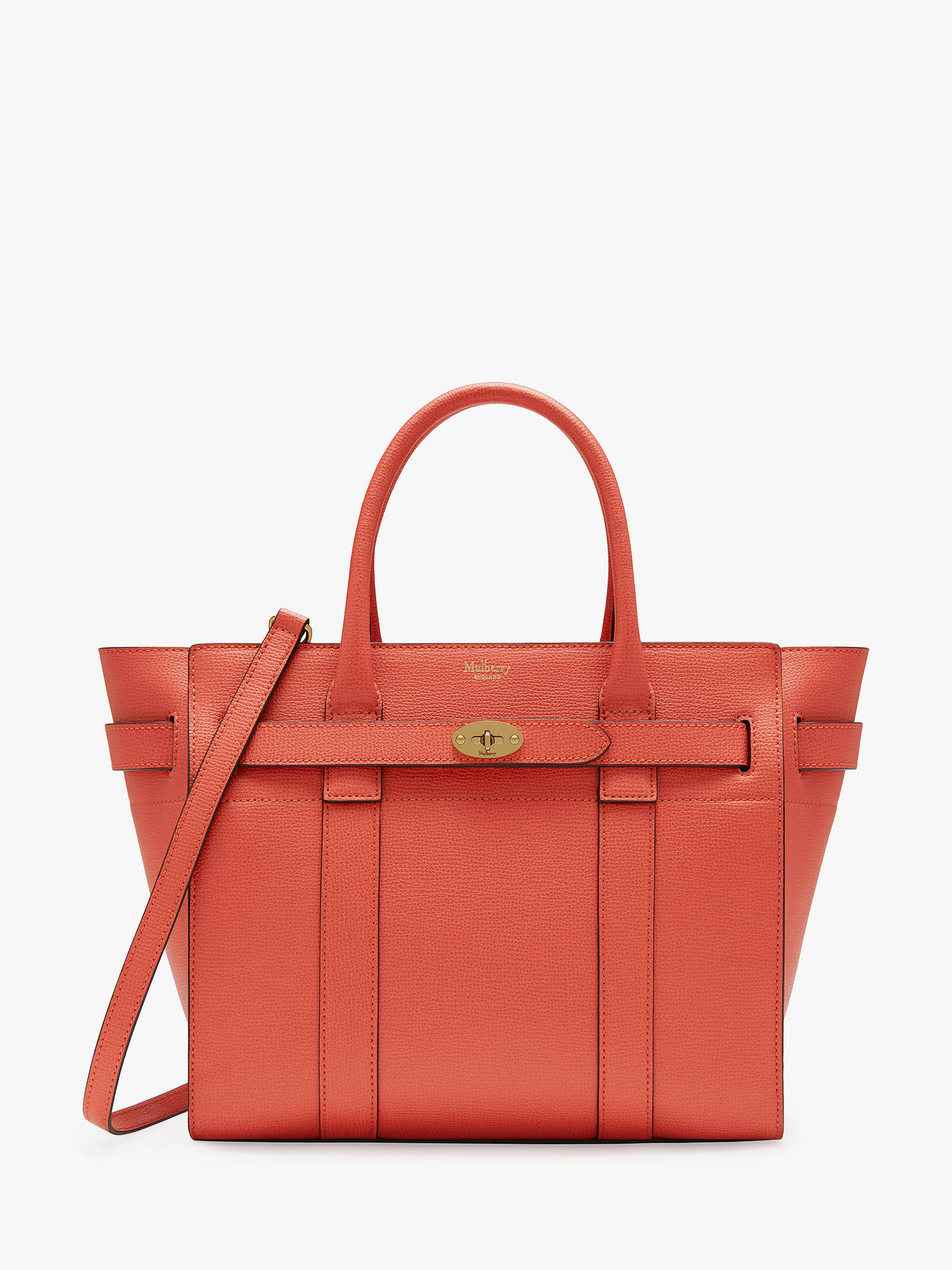c25f1c323be BuyMulberry Small Bayswater Zipped Classic Grain Leather Tote Bag, Coral  Rose Online at johnlewis.